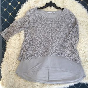 Gray lace/knit top with 3/4 sleeves